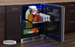 Access refrigerator contents easily with full-extension, glide-out shelving.