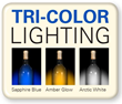 At the touch of a button, change the interior light color to sapphire blue, amber glow or arctic white.