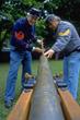 Civil War reenactors prepare a canon for a demonstration