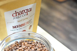 New Morning Buzz jerky from Columbus small businesses Chaqui Jerky Co. and Crimson Cup Coffee & Tea