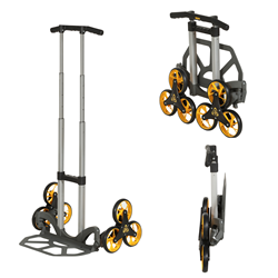 A collapsible hand truck pictured with collapsible views.