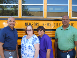 From left to right : Shay Coates – Director of Transportation, Nancy Tarr – Bus Driver , Marion Walker – Bus Assistant, James Riddick- Operations Supervisor.
