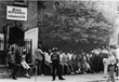 Guests lined up for a hot meal in 1982 when Eva's Kitchen was housed in the basement of a convent at St. John's Cathedral in Paterson, NJ.