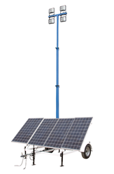 Solar Powered Light Tower with Battery Charger and Auto Timer