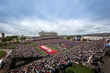 A record crowd of approximately 50,000 packed Liberty University's Williams Stadium for the university's 44th Commencement, featuring President Donald Trump.