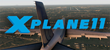 X-Plane 11 logo with Boeing 747 approaching runway in background.