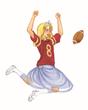 """Football Princess """"Mack"""" doing touchdown dance"""