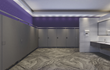 Hidden hinges and longer, angled doors and panels are features of the new toilet compartments.