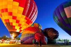 hot air balloons create the evening balloon glow