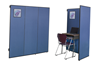 Versatile study carrels absorb sound and provide a display area