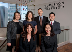 In the front row, left to right, are partners Jennifer Schmidt and Stefani Shanberg. In the back row, left to right, are of counsel Robin Brewer, and associates Madeleine E. Greene, Michael Guo and Eugene Marder.
