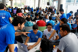 Teams working at the 2017 Belatrix's hackathon