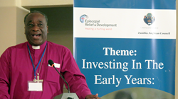 The Rt. Rev. William Mchombo, Bishop of the Anglican Diocese of Eastern Zambia, speaks at the Early Childhood Development Forum in Lusaka, Zambia, on Wednesday, May 24, 2017