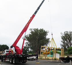 Gordon Huether Studio loading the sculpture 'Hand of the Land' to be installed at Bottlerock Napa Valley 2017