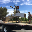 Gordon Huether Studio loading the sculpture 'Silver Twist' to be installed at Bottlerock Napa Valley 2017