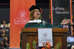 Maria Contreras-Sweet speaks at the University of La Verne's 2017 Commencement