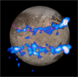 From JATIS doi:10.1117/1.JATIS.2.3.030901: Fig. 38 Aurora on Ganymede recorded with the STIS FUV MAMA. The auroral belts are colored blue in this image and are overlaid on a visible-light image of Ganymede taken by NASA's Galileo orbiter.