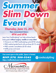 Summer Slim Down Event on June 15, 2017 at MilfordMD