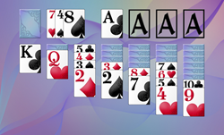 Screenshot of solitaire game using dynamic card face