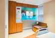 RSC Architects designed the single occupancy rooms at Englewood Hospital to include a 40-inch high definition television with flexible Willow Glass that prevents dust build up.