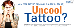 """Delete's Uncool Tattoo Contest runs June 15th through August 15th, 2017. Winners receive free tattoo removal for any tattoo 10"""" and under in size."""