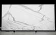 Walker Zanger is among the first in the industry to offer entire slabs up to 126 inches by 63 inches to use as countertops. Shown: Calacata Classic.