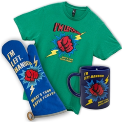 Set with 3 left handed gifts - BBQ Mitt, T shirt, and Dribble Mug