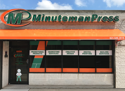 Steve Blustein's Minuteman Press franchise at 600A Walt Whitman Road in Melville, Long Island, NY features upgraded signage and window graphics that reflects Minuteman Press' position as the modern printing industry. Learn more about Long Island franchise