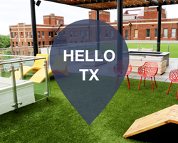 "photo of outside courtyard seating with ""hello Texas"" graphic."