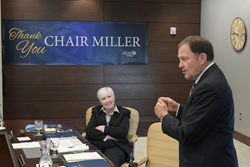 Utah Gov. Gary Herbert pays tribute to outgoing SLCC Board of Trustees Chair Gail Miller.