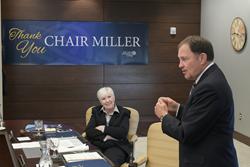 Utah Gov. Gary Herbert pays tribute to outgoing SLCC Board of Trustees Chair Gail Miller.