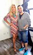 Carla Gonzalez and Fashion Designer Michael Costello at Castello studio in LA