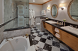 The Landing's luxurious marble baths are known for their spa-like feel, including snowy white robes and towels, double sinks, oversize sunflower shower heads and heated and lighted toilet seats.