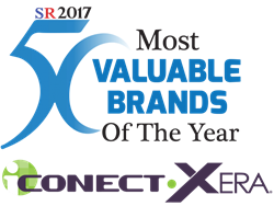 iCONECT Xera eDiscovery Software  logo with 50 Most Valuable Brands of the Year 2017 badge