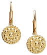 Yellow Gold Flowers Twist Lever Back Earrings by Christina Malle