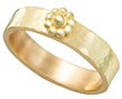 Yellow Gold Hammered Rosette Ring by Christina Malle