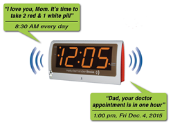 voice reminder alarm clock for memory loss