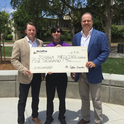 Ash Knowlton and Brent McCaffrey of McCaffrey Homes Present Scholarship to Fresno State student Joshua Medeiros