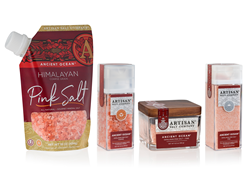 New Artisan Salt Company packaging lines include pour-spout pouches, grinders, shakers and glass jars.
