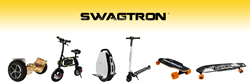"""SWAGTRON Products include: Hoverboard, Swagcycle E-Bike, Swagroller Unicycle, Swagger Pro Scooter, Swagboard Ng-1 Nextgen Electric Skateboard, Swagtron Voyager 42"""" Electric Longboard (from left)."""