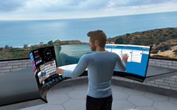 Picture of man interacting in vSpatial with countless screens and looking out over the ocean.
