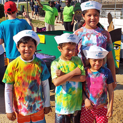 Youth attendees at Springfield Days sport their sailor caps provided by Andrews Federal.