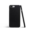 black leather iPhone case seen from the back and side that shows how thin it is