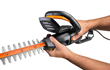Blade assembly of WORX 24 in., 4.5 Amp Hedge Trimmer pivots 90 degrees.