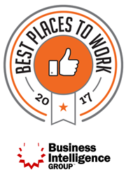 2017 Best Places to Work award logo from Business Intelligence Group