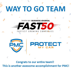 """Extended Car Warranty Companies List >> Extended Vehicle Warranty Leader Protect My Car Named to Tampa Bay Business Journal's """"Fast 50 ..."""