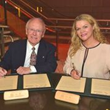 Ron C. Peck, Co-Founder Blind Judo Foundation and UNESCO Chair Catherine Carty Signing Marseille Declaration