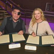 William Kidston, Three Time Emmy Award Winner and Co-Founder of ICTV along with UNESCO Chair Catherine Carty signing Marseille Delcaration
