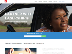 The home page of the new LaserShip website