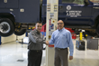 Pictured left to right: Matthew Morgan, principal at      Stertil-Koni distributor, Hoffman Services and John Cafro, Equipment Manager at D'Annunzio & Sons, in front the of two-post Freedom lift